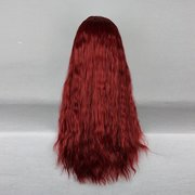 Harajuku 70cm Wine Red Side Bang Curly High Temperature Heat Friendly Synthetic Costume Cosplay Wig