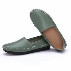 Pure Color Leather Soft Comfortable Slip On Stitching Flat Loafers