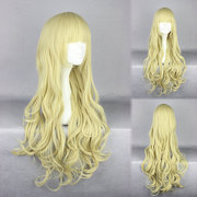 Light Yellow Heat-Friendly Synthetic Long Wave Cosplay Wig Costume Cartoon Character