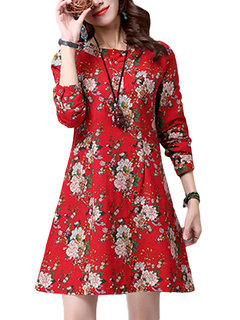 Pocket Floral Printed Long Sleeve Casual Women Flax Dress
