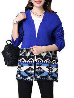 Women Ethninc Printed Long Sleeve Knit Sweater Cardigan