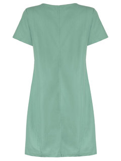 Women Pure Color Pocket Short Sleeve Loose A-Line Dress