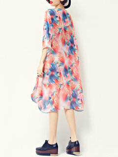 Casual Watercolor Printed O-Neck High Low Chiffon Dress For Women