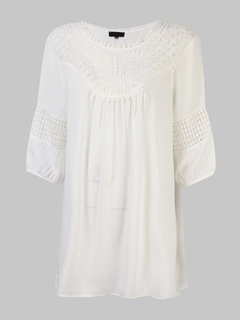 Loose Women Pure Color Crochet Hollow Splicing Chiffon Blouse