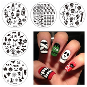 5Pcs Halloween Nail Art Stamping Broom Owl Ghost Witch DIY Tips Designs Printing Template