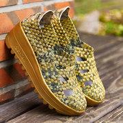 Вязание Золото Желтый выдалбливают дышащий Rocker Sole туфли на платформе