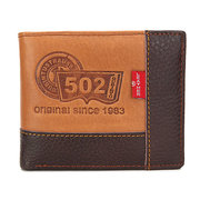 Men Business Cowhide Leather Patchwork Three Style Wallet