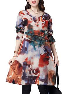 Осень с длинным рукавом Печатный Кнопка Этнические Женщины Сыпучие платье