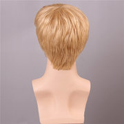 Short Men Human Hair Wig Mono Top Male Virgin Remy Capless Side Bang Golden Brown With Blonde