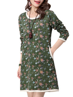 Chinese Style Floral Printed Long Sleeve Cotton Mini Dress