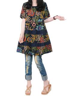 Boho Цветочные Печатный Сыпучие с коротким рукавом Vintage платье женщин