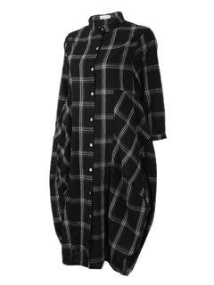 Сыпучие Plaid 3/4 Кнопка рукава футболка с длинным платье для женщин