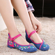 Flat Shoes Embroidery Floral National Wind Chineseknot Buckle Loafer