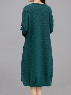 Vintage Women Rhombus Long Sleeve Pocket Pure Color Cotton Dress