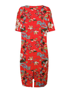 Loose Women Chinese Style Flower Printed Back Split Midi Dress