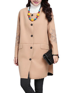 Embroidery Long Sleeve Women Pure Color Loose Woolen Coat