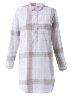 Women Plaid Stand Collar Side Split Long Sleeve Casual Blouse