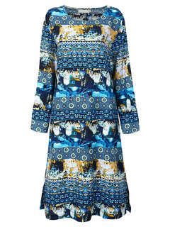 Vintage Printed O-Neck Long Sleeve Side Split Party Dress For Women