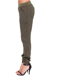 Solid Cotton Elastic Waist Pocket Cargo Casual Women Pant
