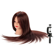 22 Inch 50% Brown Real Human Hair Training Mannequin Head Hairdressing Practice With Clamp