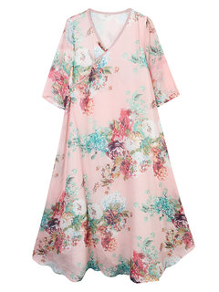 Women Half Sleeve Chinese Style Floral Printing Maxi Dress