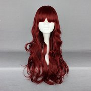 Harajuku Wine Red Long Wavy Cosplay Wig High Temperature Heat Friendly Synthetic Costume