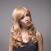 8 Colors Remy Mono Human Hair Wig Side Bang Long Curly Wave Virgin Top Capless 60cm