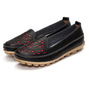 Big Size Soft Brethable Leather Floral Hollow Out Slip On Flat Loafers