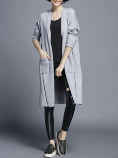Women Long Sleeve Side Split Pocket Solid Color Knit Cardigan