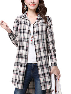 Asymmetrical Hem Button Check Plaid Elegant Women  Shirt Blouse
