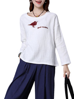 Embroidery Long Sleeve Vintage Women Cotton T-shirt