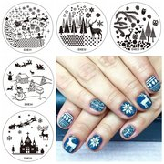 5Pcs Christmas Stamping Plate Nail Image Stamps Set Template Snowflake Elk Snowman OwlG Gift Manicur