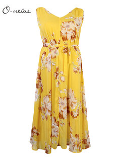 O-NEWE L-5XL Women Bohemian Flower Printed Chiffon Maxi Dress