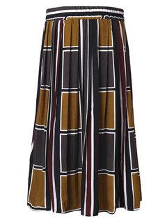 Retro High Waist Color Block Pleated Midi Full Skirt For Women