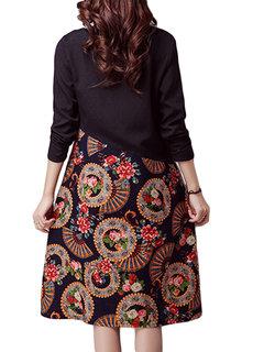 Folk Style Printed Patchwork Long Sleeve Loose Vintage Women Dress