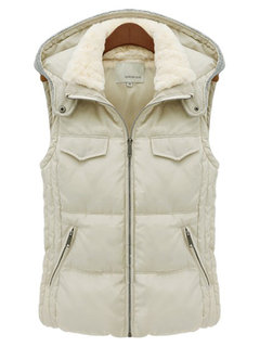 Casual Slim Thick Plus Size Knit Patchwork Hood Sleeveless Coat