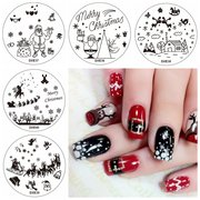 5Pcs Christmas Tree Nail Image Stamps Set Snowflake Template Snowman Cloud Santa