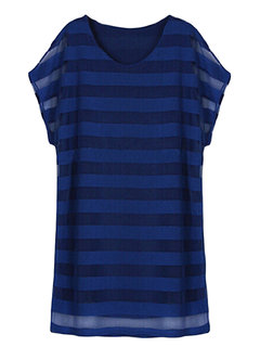 Casual Loose Stripe Mesh Yarn Short Sleeve Women Mini Dress