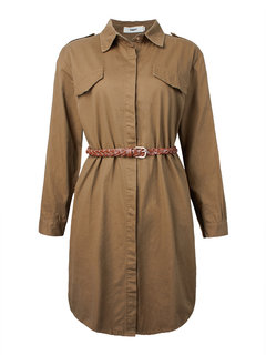 Casual Single Breasted Solid Lapel Long Sleeve Trench Coat With Belt