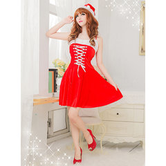 Christmas Princess Spaghetti Straps Dress Cosplay Party Red Dress For Women