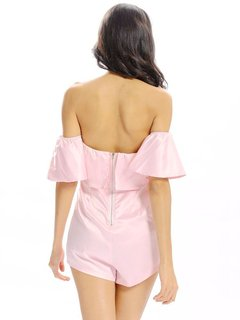Women Sexy Off Shoulder Layered Short Sleeve Jumpsuit
