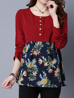 Folk Style Women Long Sleeve Floral Printed Button Cotton T-shirt