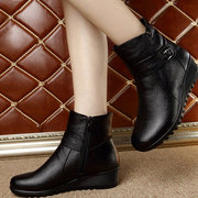 Large Size Ankle Zippe Wedge Heel Boots