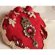 Vintage Cosplay Hairwear Wedding Red Rose Lace Crystal Heart Hairpin Jewelry