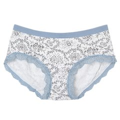 Women Elegant Printed Lace Edge Panties Cosy Soft Bamboo Fiber Briefs Underwear