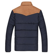 Winter Casual Outdoor Thicken Warm Stitching Stand Collar Jacket for Men