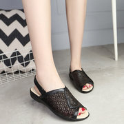 Floral Print Hollow Out Lace Leather Slip On Peep Toe Open Heel Buckle Flat Sandals