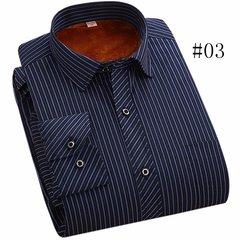 Повседневный Бизнес плед Печать утолщаются Теплые рубашки с длинным рукавом платье для мужчин
