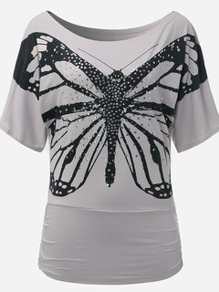 Casual Butterfly Printed Bead Batwing Sleeve T-Shirt For Women