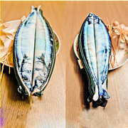 Salted Fish Stationery Bag PU Leather Storage Bag Saury Pen Pocket 3D Printing Clutches Bag